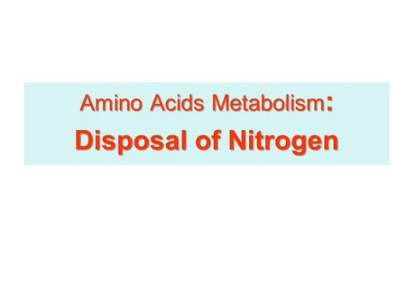 Amino Acids Metabolism : Disposal of Nitrogen. No No Storage Amino Acids of Amino Acids in the body No No Storage Amino Acids of Amino Acids in the body.
