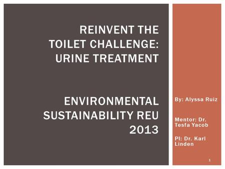 By: Alyssa Ruiz Mentor: Dr. Tesfa Yacob PI: Dr. Karl Linden REINVENT THE TOILET CHALLENGE: URINE TREATMENT ENVIRONMENTAL SUSTAINABILITY REU 2013 1.