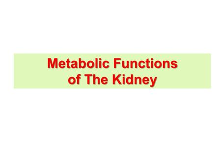 Metabolic Functions of The Kidney. Urine Formation FiltrationReabsorption Secretion 180 L / day Glomerular Filtration Rate (GFR) = 125 ml/min = 180.