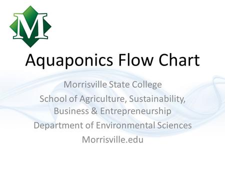 Aquaponics Flow Chart Morrisville State College School of Agriculture, Sustainability, Business & Entrepreneurship Department of Environmental Sciences.