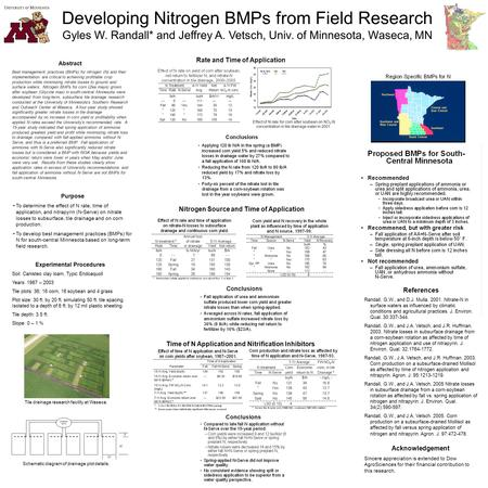 Developing Nitrogen BMPs from Field Research Gyles W. Randall* and Jeffrey A. Vetsch, Univ. of Minnesota, Waseca, MN Abstract Best management practices.