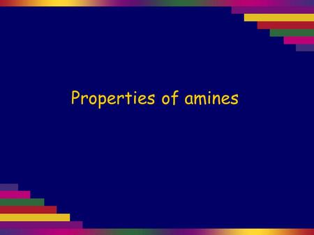 Properties of amines. Amines are compounds based on an ammonia molecule (NH 3 ), where one or more of the hydrogen atoms is replaced by a carbon chain.