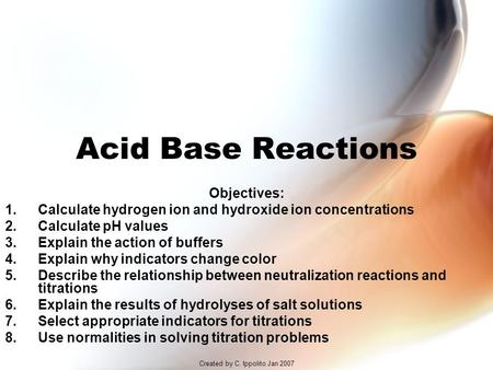 Created by C. Ippolito Jan 2007 Acid Base Reactions Objectives: 1.Calculate hydrogen ion and hydroxide ion concentrations 2.Calculate pH values 3.Explain.