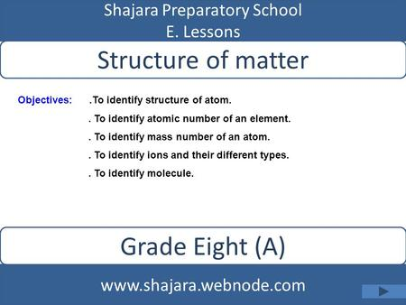 Shajara Preparatory School E. Lessons Structure of matter www.shajara.webnode.com Grade Eight (A) Objectives:.To identify structure of atom.. To identify.