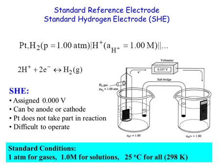 Standard Reference Electrode Standard Hydrogen Electrode (SHE) SHE: Assigned 0.000 V Can be anode or cathode Pt does not take part in reaction Difficult.