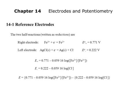 Chapter 14 Electrodes and Potentiometry
