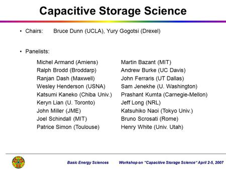 Capacitive Storage Science Chairs:Bruce Dunn (UCLA), Yury Gogotsi (Drexel) Panelists: Michel Armand (Amiens)Martin Bazant (MIT) Ralph Brodd (Broddarp)Andrew.
