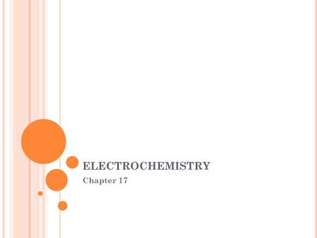 ELECTROCHEMISTRY Chapter 17. W HAT IS ELECTROCHEMISTRY Electrochemistry is the science that unites electricity and chemistry. It is the study of the transfer.