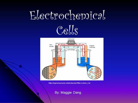 By: Maggie Dang Electrochemical Cells https://egmanual.poly.edu/index.php?title=Lemon_Car.