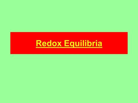 Redox Equilibria. Redox equilibria When a metal electrode is placed into a solution of one of its salts two things can happen; 1) Metal ions go into solution;
