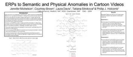 ERPs to Semantic and Physical Anomalies in Cartoon Videos Jennifer Michelson 1, Courtney Brown 1, Laura Davis 1, Tatiana Sitnikova 2 & Phillip J. Holcomb.