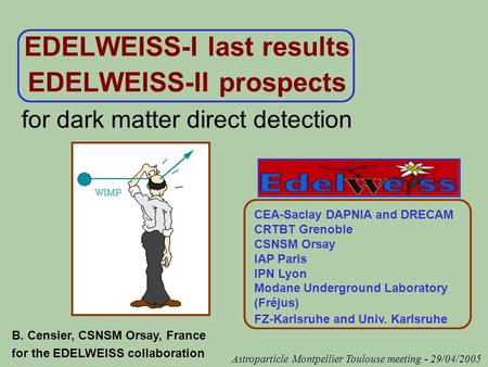 EDELWEISS-I last results EDELWEISS-II prospects for dark matter direct detection CEA-Saclay DAPNIA and DRECAM CRTBT Grenoble CSNSM Orsay IAP Paris IPN.