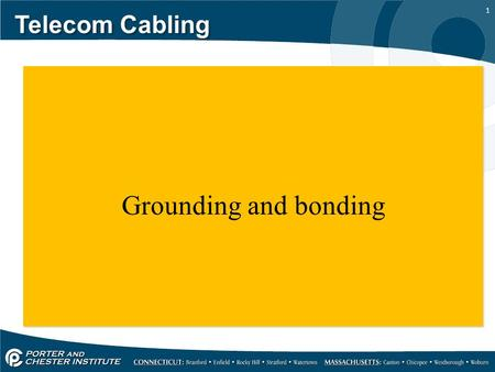 1 Telecom Cabling Grounding and bonding. 2 Telecom Cabling We're going to take a look at the grounding and bonding requirement for our TRs and entrance.