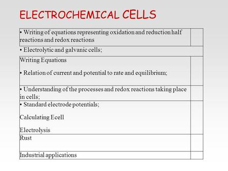 ELECTROCHEMICAL CELLS Writing of equations representing oxidation and reduction half reactions and redox reactions Electrolytic and galvanic cells; Writing.