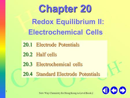 H+H+ H+H+ H+H+ OH - New Way Chemistry for Hong Kong A-Level Book 2 1 Chapter 20 Redox Equilibrium II: Electrochemical Cells 20.1Electrode Potentials 20.2Half.