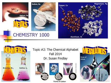 CHEMISTRY 1000 Topic #2: The Chemical Alphabet Fall 2014 Dr. Susan Findlay Gallium, Ga Sodium, Na Forms of Carbon.