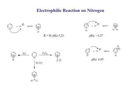 Electrophilic Reaction on Nitrogen R = H: pKa 5,23pKa - 0.27 pKa 6.95.