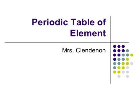 Periodic Table of Element