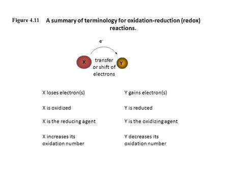 Figure 4.11 A summary of terminology for oxidation-reduction (redox) reactions. X Y e-e- transfer or shift of electrons X loses electron(s)Y gains electron(s)