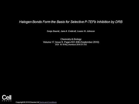 Halogen Bonds Form the Basis for Selective P-TEFb Inhibition by DRB Sonja Baumli, Jane A. Endicott, Louise N. Johnson Chemistry & Biology Volume 17, Issue.