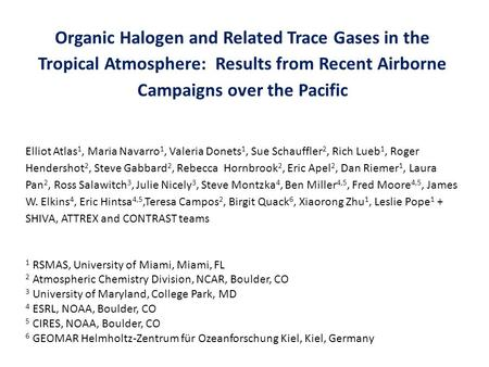 Organic Halogen and Related Trace Gases in the Tropical Atmosphere: Results from Recent Airborne Campaigns over the Pacific Elliot Atlas 1, Maria Navarro.