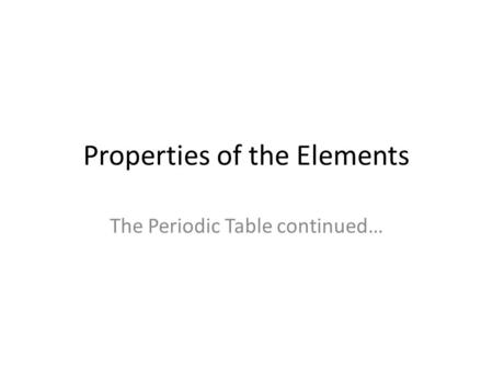 Properties of the Elements