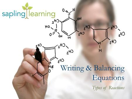 Writing & Balancing Equations Types of Reactions.