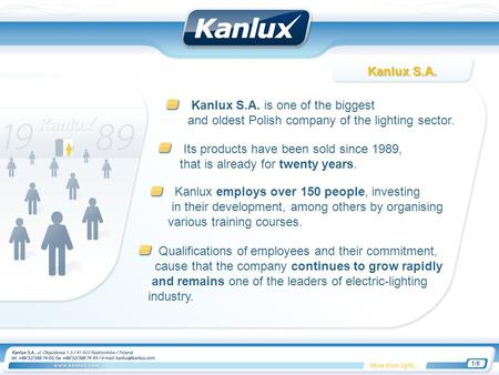 Kanlux S.A. is one of the biggest and oldest Polish company of the lighting sector. Its products have been sold since 1989, that is already for twenty.