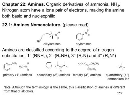 203 Chapter 22: Amines. Organic derivatives of ammonia, NH 3. Nitrogen atom have a lone pair of electrons, making the amine both basic and nucleophilic.