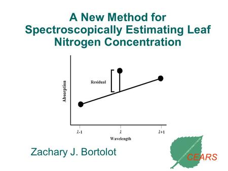 A New Method for Spectroscopically Estimating Leaf Nitrogen Concentration Zachary J. Bortolot CEARS.