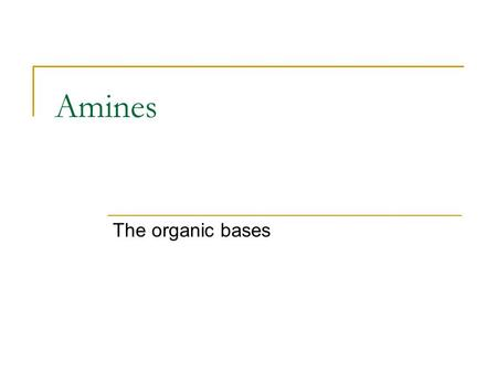 Amines The organic bases. Categorizing Amines Amines are categorized by the number of alkyl groups attached to nitrogen : 1º (primary amine)RNH 2 2º (secondary.