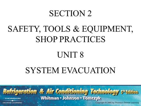 SECTION 2 SAFETY, TOOLS & EQUIPMENT, SHOP PRACTICES UNIT 8 SYSTEM EVACUATION.