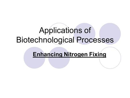 Applications of Biotechnological Processes Enhancing Nitrogen Fixing.