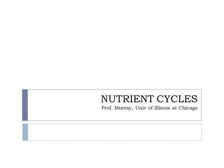 NUTRIENT CYCLES Prof. Murray, Univ of Illinois at Chicago