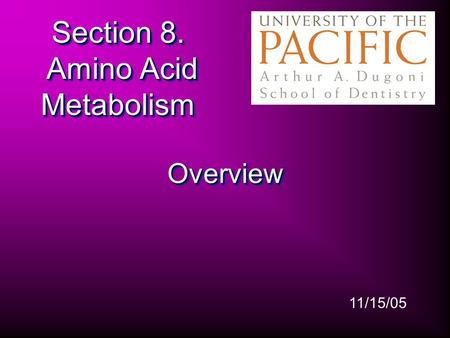 Section 8. Amino Acid Metabolism OverviewOverview 11/15/05.