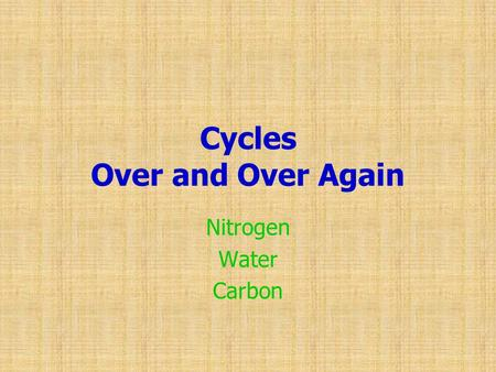 Cycles Over and Over Again Nitrogen Water Carbon.