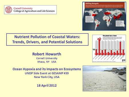 Robert Howarth Cornell University Ithaca, NY USA Ocean Hypoxia and its Impacts on Ecosystems UNDP Side Event at GESAMP #39 New York City, USA 18 April.