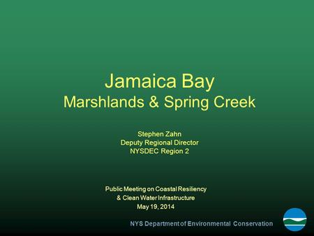 NYS Department of Environmental Conservation Jamaica Bay Marshlands & Spring Creek Stephen Zahn Deputy Regional Director NYSDEC Region 2 Public Meeting.