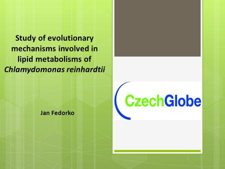 Study of evolutionary mechanisms involved in lipid metabolisms of Chlamydomonas reinhardtii Jan Fedorko.