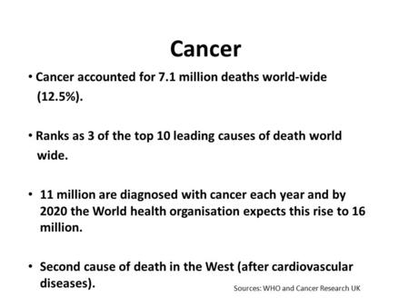 Cancer Cancer accounted for 7.1 million deaths world-wide (12.5%). Ranks as 3 of the top 10 leading causes of death world wide. 11 million are diagnosed.