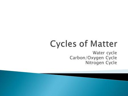 Water cycle Carbon/Oxygen Cycle Nitrogen Cycle.  W.C. is a continuous process in which water moves from Earth's surface into the atmosphere and back.