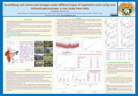 Quantifying soil carbon and nitrogen under different types of vegetation cover using near infrared-spectroscopy: a case study from India J. Dinakaran*and.