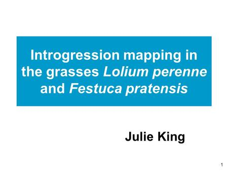 1 Introgression mapping in the grasses Lolium perenne and Festuca pratensis Julie King.