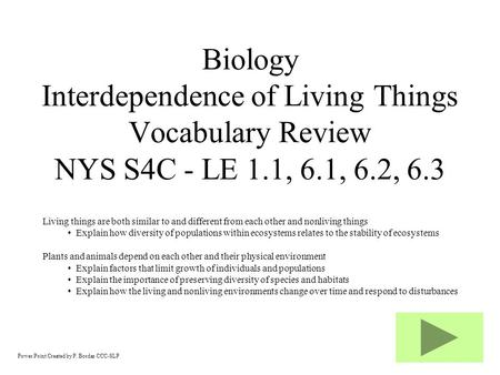 Power Point Created by P. Bordas CCC-SLP Biology Interdependence of Living Things Vocabulary Review NYS S4C - LE 1.1, 6.1, 6.2, 6.3 Living things are.