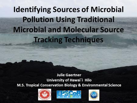 Identifying Sources of Microbial Pollution Using Traditional Microbial and Molecular Source Tracking Techniques Julie Gaertner University of Hawai`i Hilo.