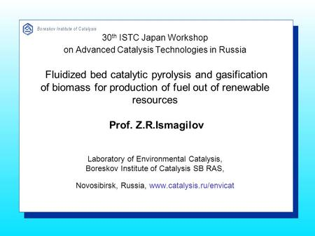 30 th ISTC Japan Workshop on Advanced Catalysis Technologies in Russia Fluidized bed catalytic pyrolysis and gasification of biomass for production of.