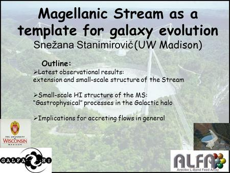 1 Magellanic Stream as a template for galaxy evolution Snežana Stanimirović (UW Madison) Outline:  Latest observational results: extension and small-scale.