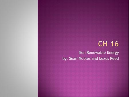 Non Renewable Energy by: Sean Nobles and Lexus Reed.