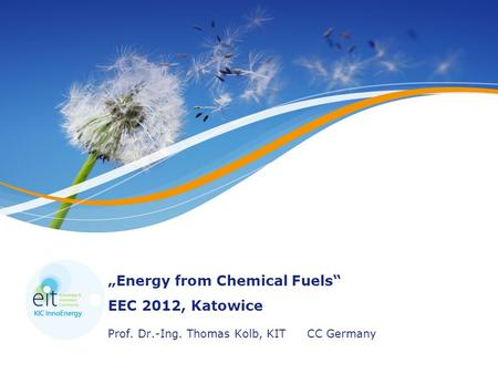 """Energy from Chemical Fuels"" EEC 2012, Katowice Prof. Dr.-Ing. Thomas Kolb, KITCC Germany."
