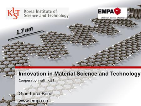 Innovation in Material Science and Technology Cooperation with KIST Gian-Luca Bona, www-empa.ch.